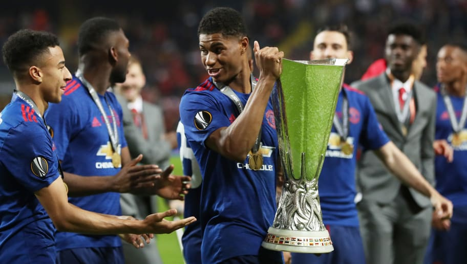 STOCKHOLM, SWEDEN - MAY 24: Marcus Rashford of Manchester United is seen with the trophy during the UEFA Europa League Final match between Ajax and Manchester United at Friends Arena on May 24, 2017 in Stockholm, Sweden. (Photo by Ian MacNicol/Getty Images)