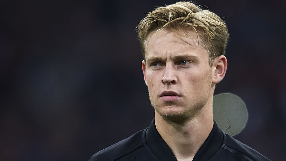 AMSTERDAM, NETHERLANDS - OCTOBER 23:  Frenkie de Jong of Ajax looks on prior to during the Group E match of the UEFA Champions League between Ajax and SL Benfica at Johan Cruyff Arena on October 23, 2018 in Amsterdam, Netherlands. (Photo by Quality Sport Images/Getty Images)