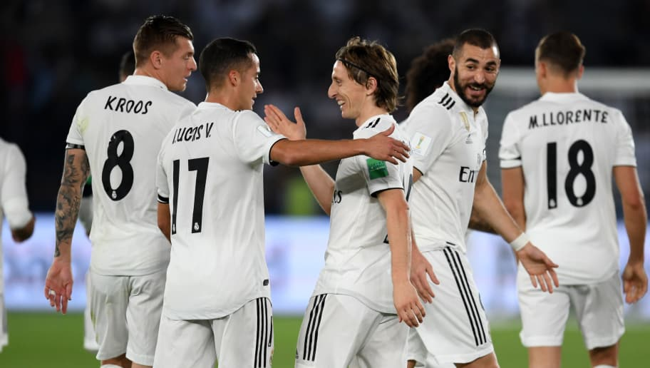 ABU DHABI, UNITED ARAB EMIRATES - DECEMBER 22: Luka Modric of Real Madrid celebrates scoring his side's first goal during the match between Real Madrid and Al Ain on December 22, 2018 in Abu Dhabi, United Arab Emirates. (Photo by Etsuo Hara/Getty Images)