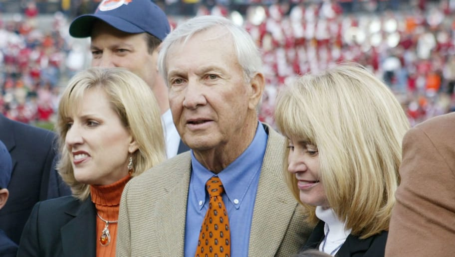 AUBURN, AL - NOVEMBER 19:  A ceremony honors former Auburn Tigers head coach Pat Dye for his induction to the College Football Hall of Fame during the game against the Alabama Crimson Tide at Jordan-Hare Stadium on November 19, 2005 in Auburn, Alabama. The field at Jordan-Hare Stadium was also christened Pat Dye Field.  Auburn defeated Alabama 28-18.   (Photo by Chris Graythen/Getty Images)