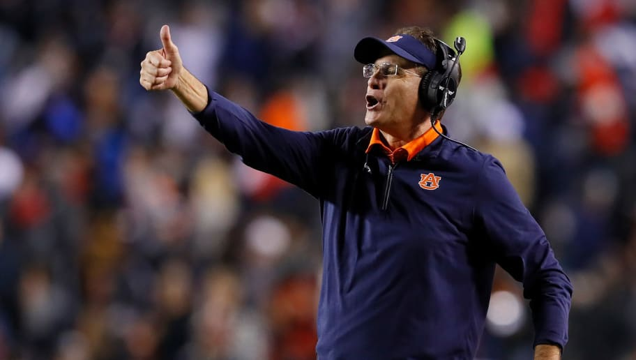 AUBURN, AL - NOVEMBER 25:  Head coach Gus Malzahn of the Auburn Tigers  reacts after a touchdown by the Alabama Crimson Tide was overturned after review during the fourth quarter at Jordan Hare Stadium on November 25, 2017 in Auburn, Alabama.  (Photo by Kevin C. Cox/Getty Images)