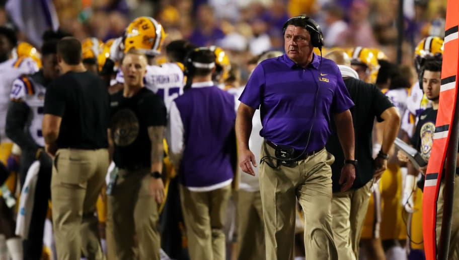 BATON ROUGE, LOUISIANA - NOVEMBER 03: Head coach Ed Orgeron of the LSU Tigers looks on in the first half against the Alabama Crimson Tide of their game at Tiger Stadium on November 03, 2018 in Baton Rouge, Louisiana. (Photo by Gregory Shamus/Getty Images)