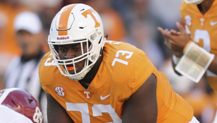 KNOXVILLE, TN - OCTOBER 20: Offensive lineman Trey Smith #73 of the Tennessee Volunteers during the first half of the game between the Alabama Crimson Tide and the Tennessee Volunteers at Neyland Stadium on October 20, 2018 in Knoxville, Tennessee. Alabama won 58-21. (Photo by Donald Page/Getty Images)