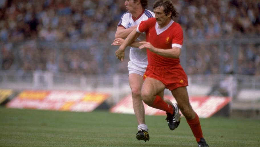 01 Aug 1980:  Alan Kennedy of Liverpool in action during the Charity Shield against West Ham played at Wembley in London. \ Mandatory Credit: Allsport UK /Allsport