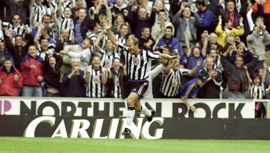 19 Sep 1999:  Alan Shearer of Newcastle salutes a goal during the Newcastle United v Sheffield Wednesday FA Carling Premier League match played at St. James's Park, Newcastle, England. Newcastle went on to win the game (eight) 8-0. \ Mandatory Credit: Clive Mason /Allsport