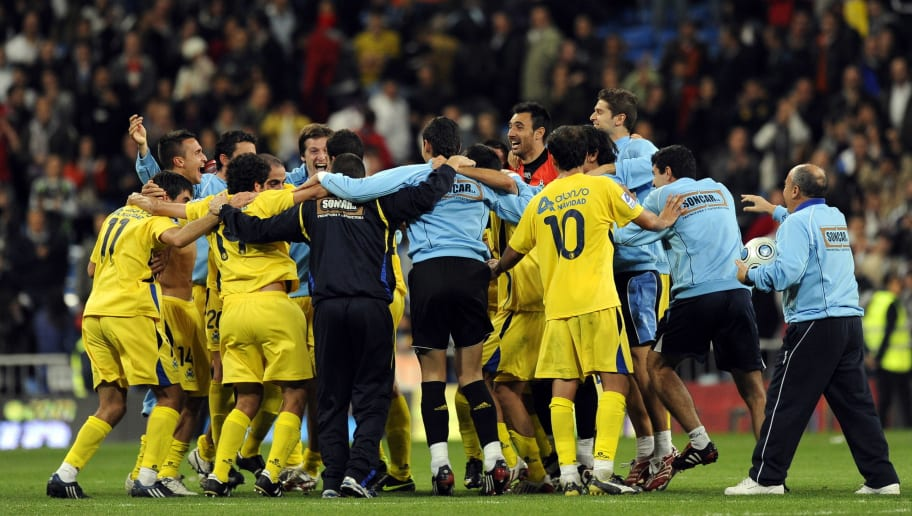 Alcorcon players celebrate after their S