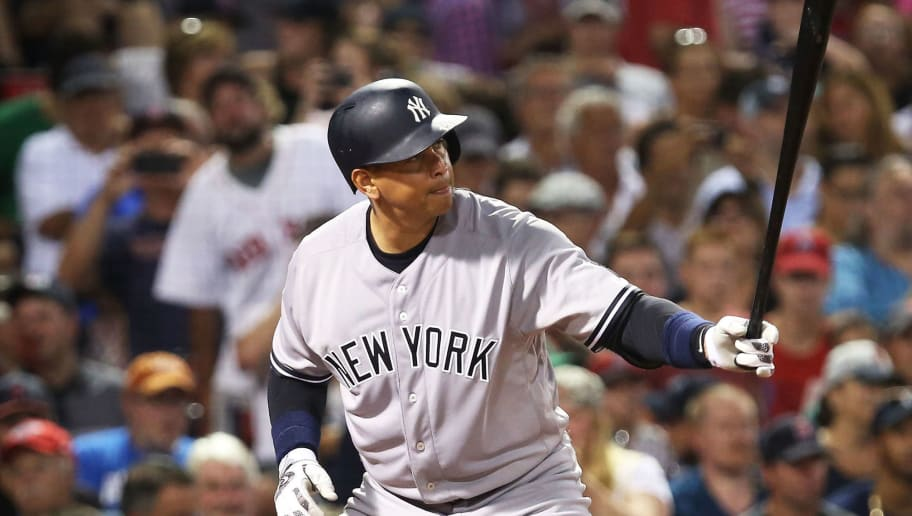 BOSTON, MA - AUGUST 11:  Alex Rodriguez #13 of the New York Yankees bats during the game against the Boston Red Sox at Fenway Park on August 11, 2016 in Boston, Massachusetts.  (Photo by Adam Glanzman/Getty Images)