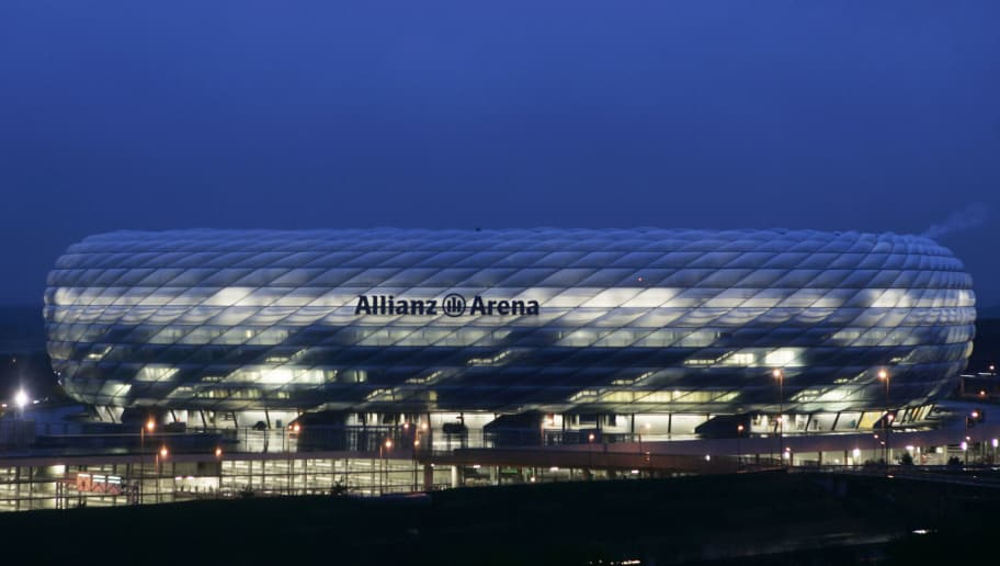 MUNICH, GERMANY - APRIL 20:  An illumination test is run on the Allianz Arena on April 20, 2005 in Munich. The Allianz Arena will be the future home stadium of soccer clubs FC Bayern Munich and TSV 1860 Munich and will also host the opening game of the FIFA World Cup 2006 Championships. The stadium is scheduled for completion by June 2005. (Photo by Jan Pitman/Getty Images)