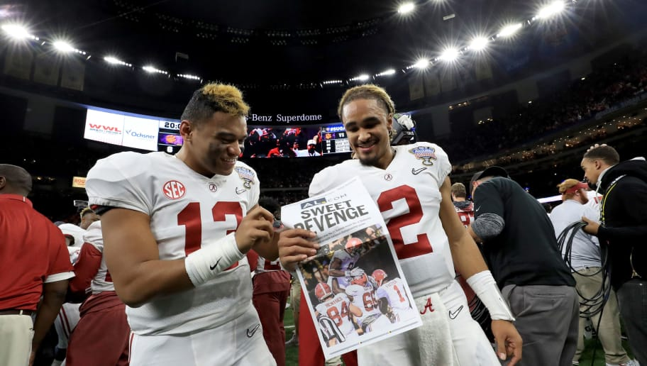NEW ORLEANS, LA - JANUARY 01: Jalen Hurts #2 of the Alabama Crimson Tide and Tua Tagovailoa #13 celebrate after winning the AllState Sugar Bowl against the Clemson Tigers at the Mercedes-Benz Superdome on January 1, 2018 in New Orleans, Louisiana.  (Photo by Ronald Martinez/Getty Images)
