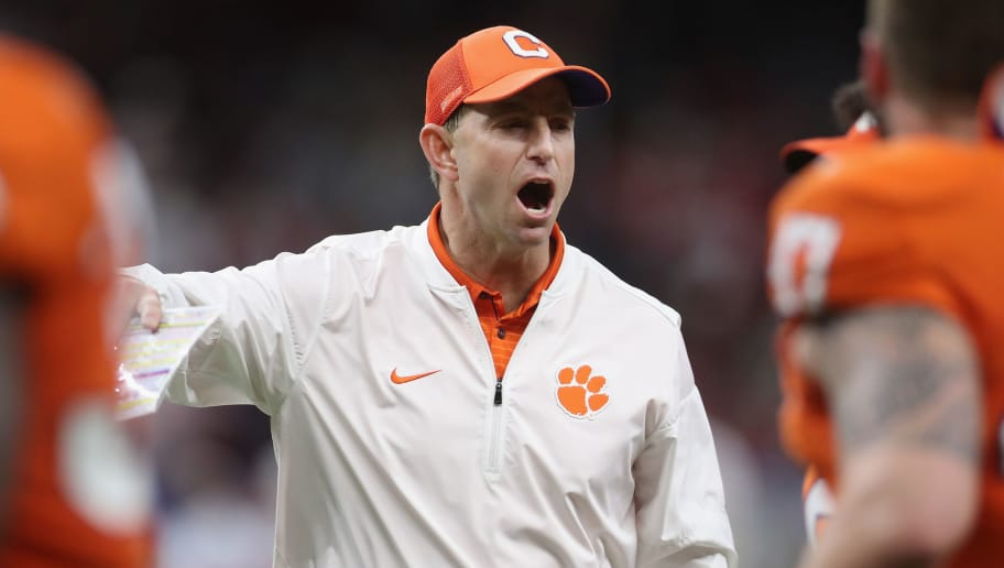 NEW ORLEANS, LA - JANUARY 01:  Head coach Dabo Swinney of the Clemson Tigers react in the first half of the AllState Sugar Bowl against the Alabama Crimson Tide at the Mercedes-Benz Superdome on January 1, 2018 in New Orleans, Louisiana.  (Photo by Chris Graythen/Getty Images)