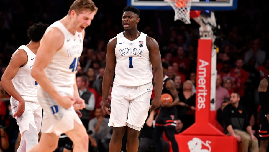 NEW YORK, NY - DECEMBER 20: Zion Williamson #1 of the Duke Blue Devils reacts against the Texas Tech Red Raiders in the first half at Madison Square Garden on December 20, 2018 in New York City. (Photo by Lance King/Getty Images)