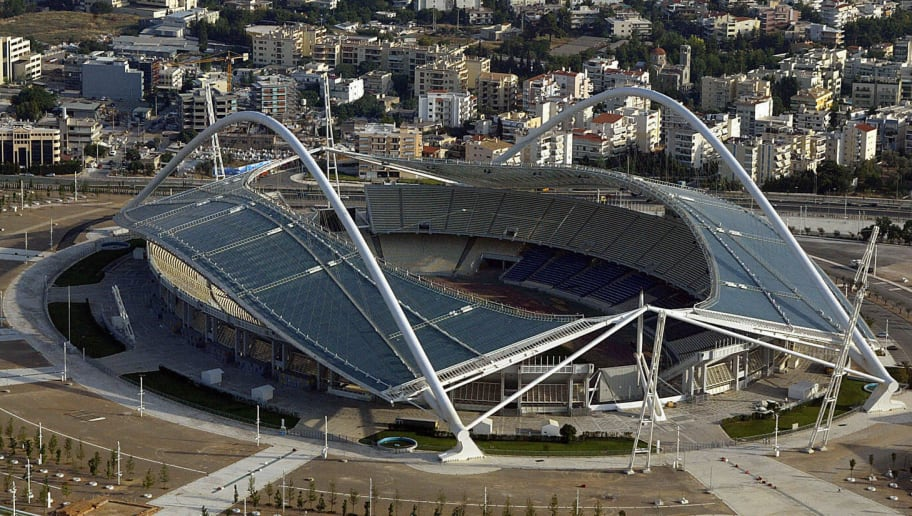 Athens, GREECE: An aerial view of the Athens Olympic Stadium taken 02 July 2005. AC Milan are desperate to atone for their Istanbul nightmare when they face Liverpool in next Wednesday's Champions League final rematch in Athens. On May 23, the stadium will host the Champions League final between AC Milan and Liverpool,  a sold-out affair with over 63,000 spectators. AFP PHOTO / LOUISA GOULIAMAKI (Photo credit should read LOUISA GOULIAMAKI/AFP/Getty Images)
