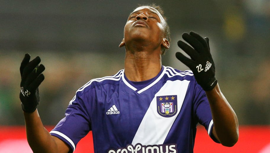 BRUSSELS, BELGIUM - MARCH 18:  Dodi Lukebakio of Anderlecht reatcs to a missed a chance on goal during the UEFA Youth League quarter final match between RSC Anderlecht and FC Porto at Constant Vanden Stock Stadium on March 18, 2015 in Brussels, Belgium.  (Photo by Dean Mouhtaropoulos/Getty Images for UEFA)