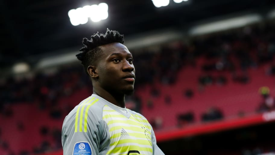 AMSTERDAM, NETHERLANDS - OCTOBER 28: Andre Onana of Ajax during the Dutch Eredivisie  match between Ajax v Feyenoord at the Johan Cruijff Arena on October 28, 2018 in Amsterdam Netherlands (Photo by Erwin Spek/Soccrates/Getty Images)