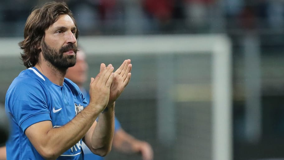 MILAN, ITALY - MAY 21:  Andrea Pirlo greets the fans at the end of Andrea Pirlo Farewell Match at Stadio Giuseppe Meazza on May 21, 2018 in Milan, Italy.  (Photo by Emilio Andreoli/Getty Images)