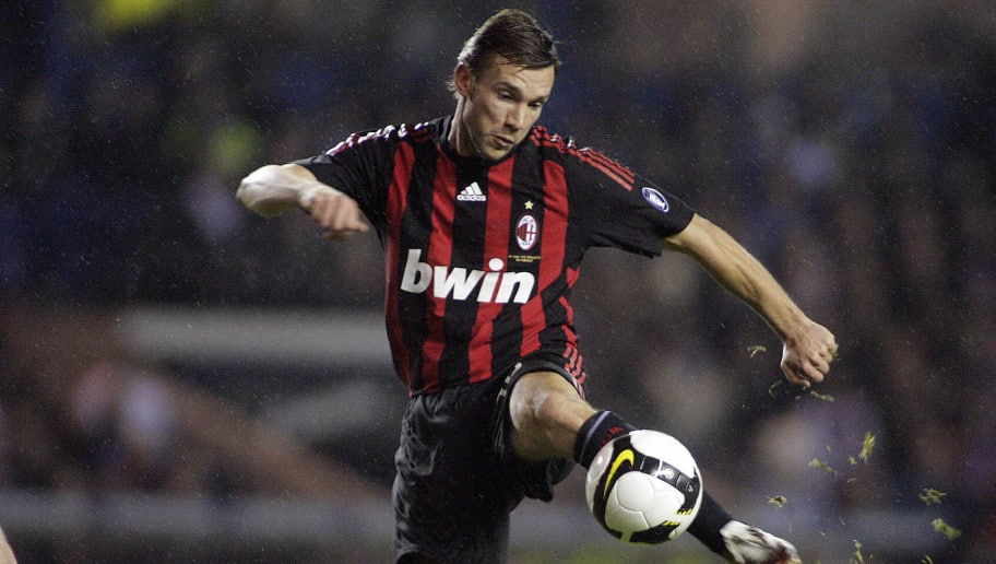 Andriy Shevchenko of AC Milan kicks the ball during a friendly football match against Rangers at the Ibrox Stadium in Glasgow, Scotland, on February 4, 2009. AFP PHOTO/GRAHAM STUART - FOR EDITORIAL USE ONLY Additional licence required for any commercial/promotional use or use on TV or internet (except identical online version of newspaper) of Premier League/Football League photos. Tel DataCo +44 207 2981656. Do not alter/modify photo. (Photo credit should read GRAHAM STUART/AFP/Getty Images)