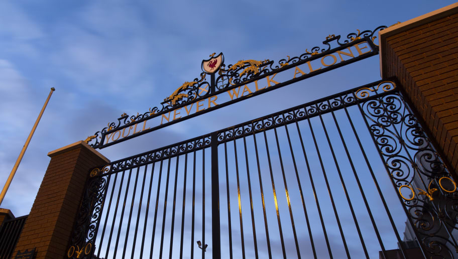 LIVERPOOL, ENGLAND - NOVEMBER 13: The Bill Shankly gates with the Liverpool FC slogan You'u2019ll Never Walk Alone outside Anfield, home of Liverpool FC on November 13, 2018 in Liverpool, United Kingdom. (Photo by Visionhaus/Getty Images)
