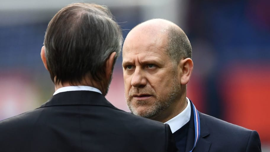 Paris Saint-Germain's Portuguese sporting director Antero Henrique (R) speaks with Paris Saint-Germain's assistant general manager Jean Claude Blanc during the French L1 football match between Paris Saint-Germain (PSG) and Montpellier (MHSC) at the Parc des Princes stadium in Paris on January 27, 2018. / AFP PHOTO / FRANCK FIFE        (Photo credit should read FRANCK FIFE/AFP/Getty Images)