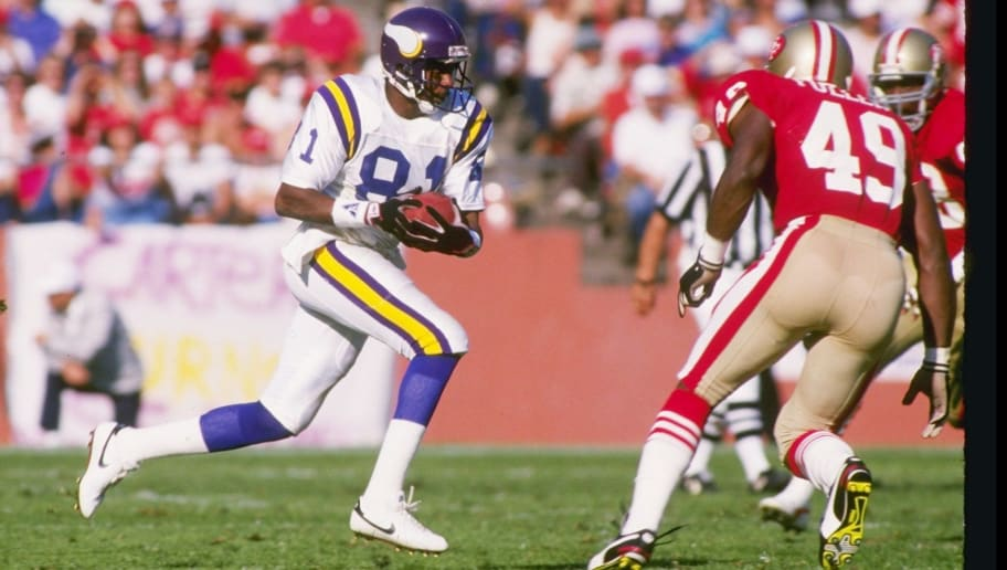 30 Oct 1988:  Wide receiver Anthony Carter of the Minnesota Vikings moves down the field during a game against the San Francisco 49ers at Candlestick Park in San Francisco, California.  The 49ers won the game, 24-21. Mandatory Credit: Otto Greule Jr.  /Al