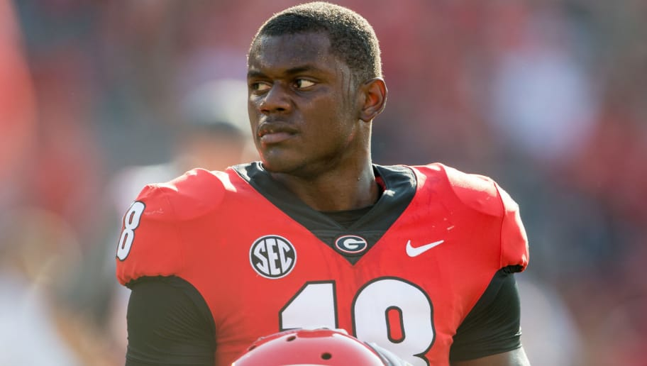 ATHENS, GA - SEPTEMBER 2: Defensive back Deandre Baker #18 of the Georgia Bulldogs prior to their game against the Appalachian State Mountaineers at Sanford Stadium on September 2, 2017 in Athens, Georgia. The Georgia Bulldogs defeated the Appalachian State Mountaineers 31-10. (Photo by Michael Chang/Getty Images)