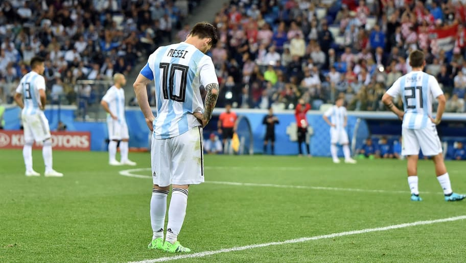 NIZHNY NOVGOROD, RUSSIA - JUNE 21: Lionel Messi of Argentina looks on after argentina conceived second goal during the 2018 FIFA World Cup Russia group D match between Argentina and Croatia at Nizhny Novgorod Stadium on June 21, 2018 in Nizhny Novgorod, Russia. (Photo by Lukasz Laskowski/PressFocus/MB Media/Getty Images)