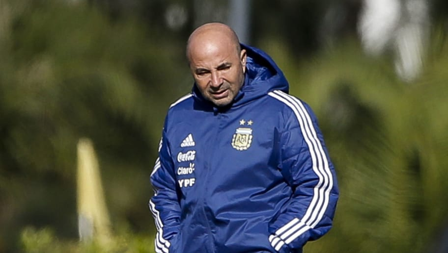 BUENOS AIRES, ARGENTINA - MAY 16:  Jorge Sampaoli coach of Argentina looks on during a traning session as part of the preparation for the FIFA World Cup Russia at Julio Humberto Grondona Training Camp on May 16, 2018 in Ezeiza, Buenos Aires, Argentina. (Photo by Gabriel Rossi/Getty Images)