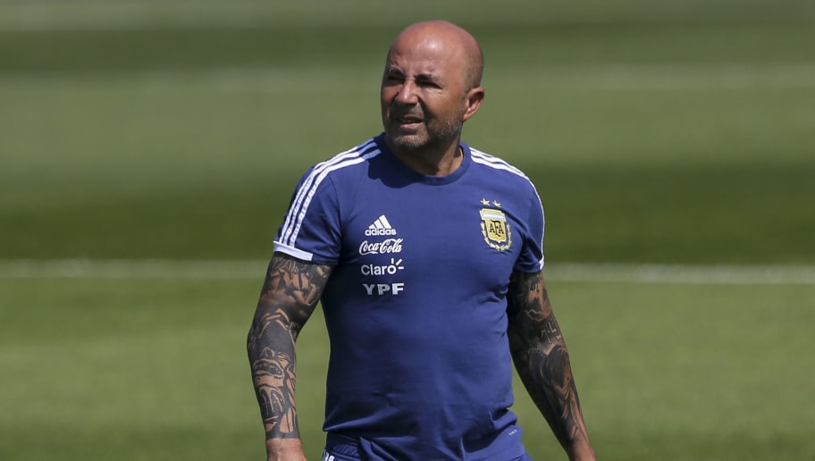 BRONNITSY, RUSSIA - JUNE 23: Jorge Sampaoli coach of Argentina looks on during a training session at Stadium of Syroyezhkin sports school  on June 19, 2018 in Bronnitsy, Russia. (Photo by Gabriel Rossi/Getty Images)