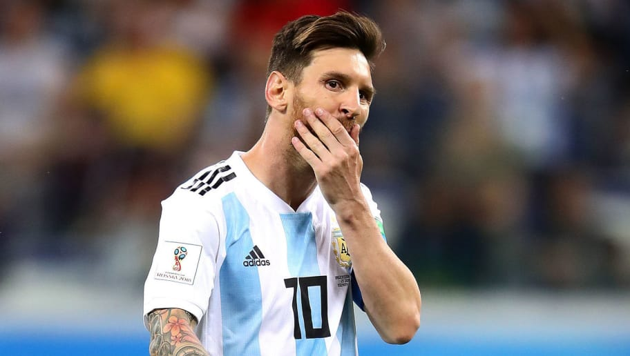 NIZHNY NOVGOROD, RUSSIA - JUNE 21: Lionel Messi of Argentina reacts during the 2018 FIFA World Cup Russia group D match between Argentina and Croatia at Nizhny Novgorod Stadium on June 21, 2018 in Nizhny Novgorod, Russia. (Photo by Chris Brunskill/Fantasista/Getty Images)