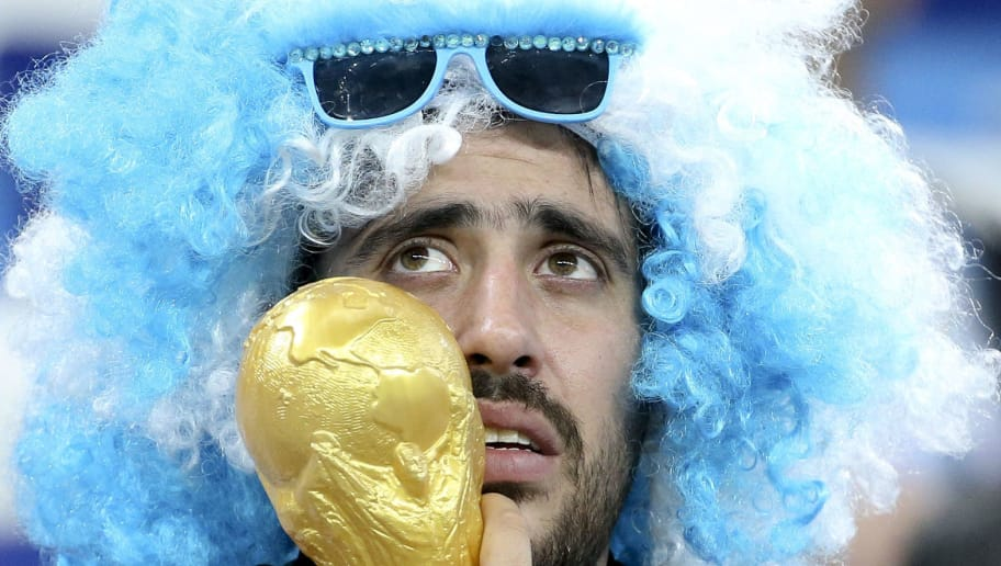 NIZHNIY NOVGOROD, RUSSIA - JUNE 21: A fan of Argentina following the 2018 FIFA World Cup Russia group D match between Argentina and Croatia at Nizhniy Novgorod Stadium on June 21, 2018 in Nizhniy Novgorod, Russia. (Photo by Jean Catuffe/Getty Images)