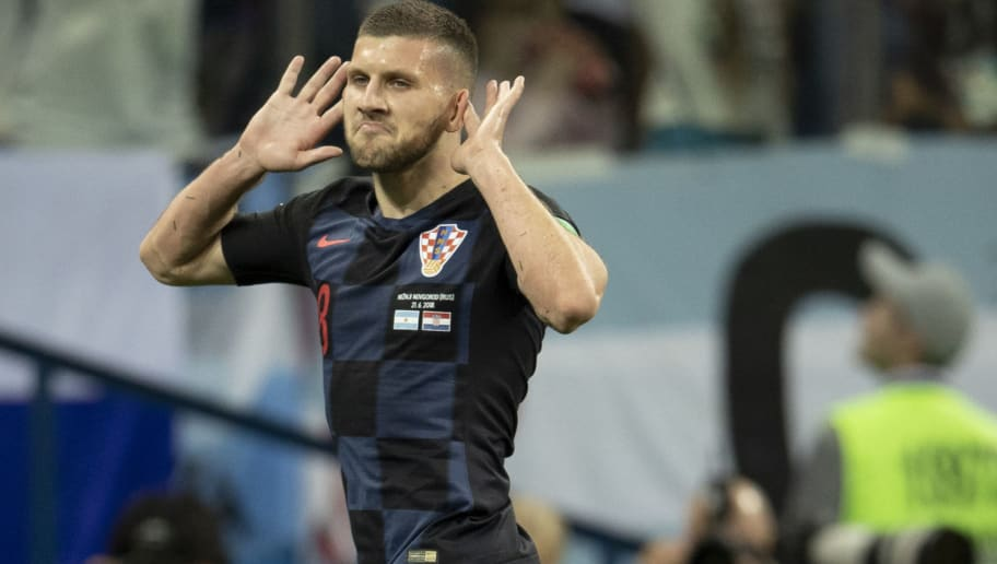 NIZHNIY NOVGOROD, RUSSIA - JUNE 21:  Ante Rebic of Croatia celebrates after scoring his team's first goal during the 2018 FIFA World Cup Russia group D match between Argentina and Croatia at Nizhny Novgorod Stadium on June 21, 2018 in Nizhny Novgorod, Russia.  (Photo by Fred Lee/Getty Images)