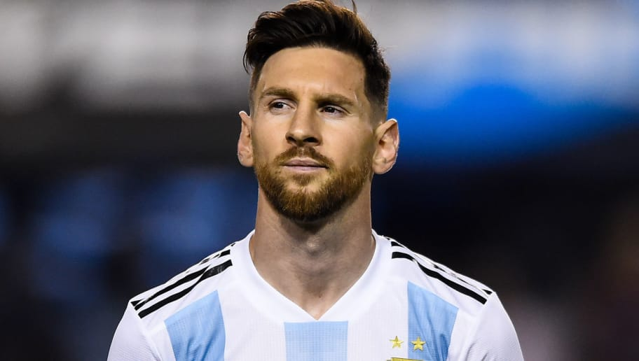 BUENOS AIRES, ARGENTINA - MAY 29: Lionel Messi of Argentina looks on before an international friendly match between Argentina and Haiti at Alberto J. Armando Stadium on May 29, 2018 in Buenos Aires, Argentina. (Photo by Marcelo Endelli/Getty Images)