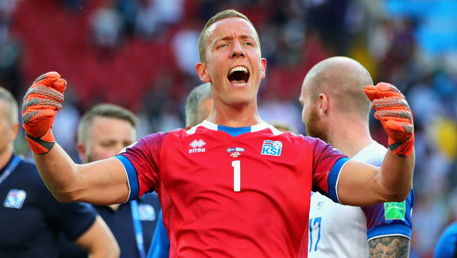 MOSCOW, RUSSIA - JUNE 16:  Hannes Halldorsson of Iceland celebrates after his side drew during the 2018 FIFA World Cup Russia group D match between Argentina and Iceland at Spartak Stadium on June 16, 2018 in Moscow, Russia.  (Photo by Chris Brunskill/Fantasista/Getty Images)