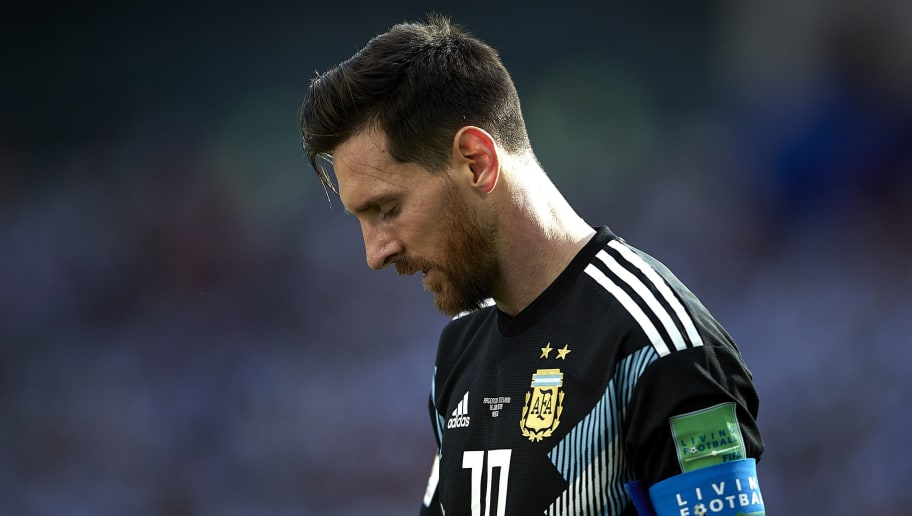 MOSCOW, RUSSIA - JUNE 16:  Lionel Messi of Argentina reacts during the 2018 FIFA World Cup Russia group D match between Argentina and Iceland at Spartak Stadium on June 16, 2018 in Moscow, Russia.  (Photo by Quality Sport Images/Getty Images)