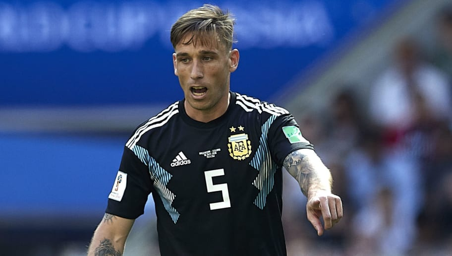 MOSCOW, RUSSIA - JUNE 16:  Lucas Biglia of Argentina in action during the 2018 FIFA World Cup Russia group D match between Argentina and Iceland at Spartak Stadium on June 16, 2018 in Moscow, Russia.  (Photo by Quality Sport Images/Getty Images)