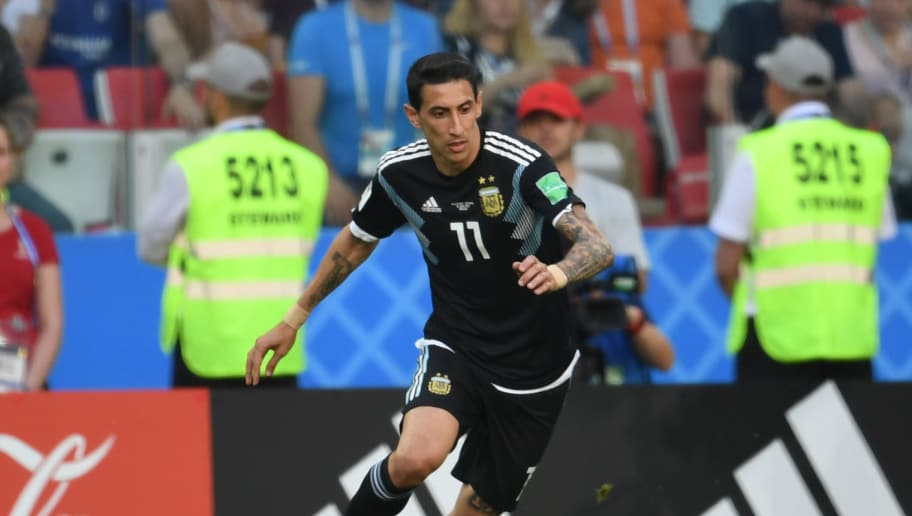 MOSCOW,RUSSIA - JUNE 16: Angel Di Maria of Argentina in action during the 2018 FIFA World Cup Russia group D match between Argentina and Iceland at Spartak Stadium on June 16, 2018 in Moscow, Russia. (Photo by Etsuo Hara/Getty Images)
