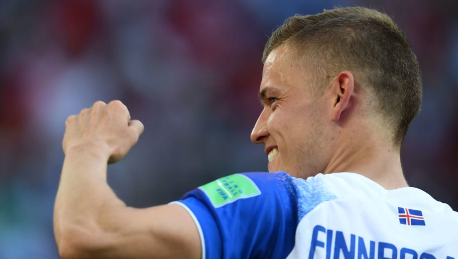 MOSCOW,RUSSIA - JUNE 16: Alfred Finnbogason of Iceland celebrates after the 2018 FIFA World Cup Russia group D match between Argentina and Iceland at Spartak Stadium on June 16, 2018 in Moscow, Russia. (Photo by Etsuo Hara/Getty Images)