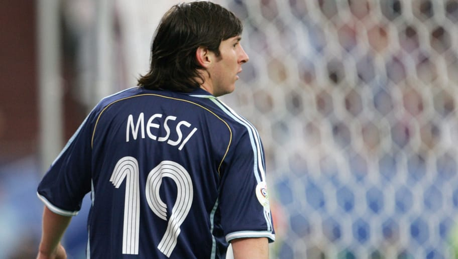 Gelsenkirchen, GERMANY:  Argentinian forward Lionel Messi is pictured during the FIFA World Cup 2006 group C World Cup football match Argentina vs Serbia-Montenegro, 16 June 2006 at Gelsenkirchen stadium. AFP PHOTO DANIEL GARCIA  (Photo credit should read DANIEL GARCIA/AFP/Getty Images)
