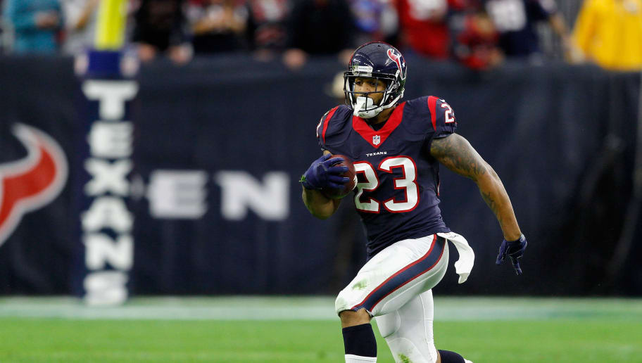 HOUSTON, TX - DECEMBER 28:  Arian Foster #23 of the Houston Texans during game action against the Jacksonville Jaguars at NRG Stadium on December 28, 2014 in Houston, Texas.  (Photo by Bob Levey/Getty Images)