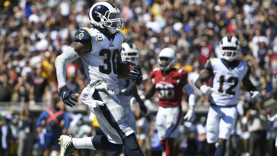 LOS ANGELES, CA - SEPTEMBER 16: Todd Gurley #30 of the Los Angeles Rams sprints into the endzone for a two-point conversion against the Arizona Cardinals at Los Angeles Memorial Coliseum on September 16, 2018 in Los Angeles, California. (Photo by John McCoy/Getty Images)