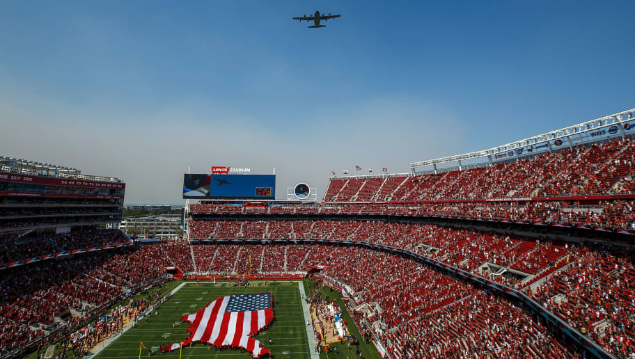 SANTA CLARA, CA - OCTOBER 07: A Lockheed Martin HC-130J Combat King II from the United States Air Force 129th Rescue Wing, California Air National Guard, performs a flyover before the game between the San Francisco 49ers and the Arizona Cardinals at Levi's Stadium on October 7, 2018 in Santa Clara, California. The Arizona Cardinals defeated the San Francisco 49ers 28-18. (Photo by Jason O. Watson/Getty Images)