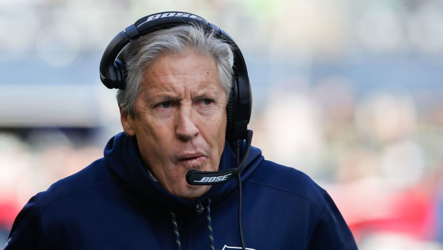 SEATTLE, WA - DECEMBER 31:  Seattle Seahawks head coach Pete Carroll walks the sidelines before the game against the Arizona Cardinals at CenturyLink Field on December 31, 2017 in Seattle, Washington. (Photo by Otto Greule Jr /Getty Images)