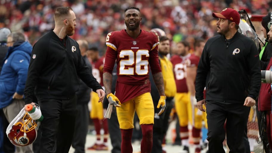 LANDOVER, MD - DECEMBER 17: Cornerback Bashaud Breeland #26 of the Washington Redskins walks off the field after being injured in the fourth quarter against the Arizona Cardinals at FedEx Field on December 17, 2017 in Landover, Maryland. (Photo by Patrick Smith/Getty Images)
