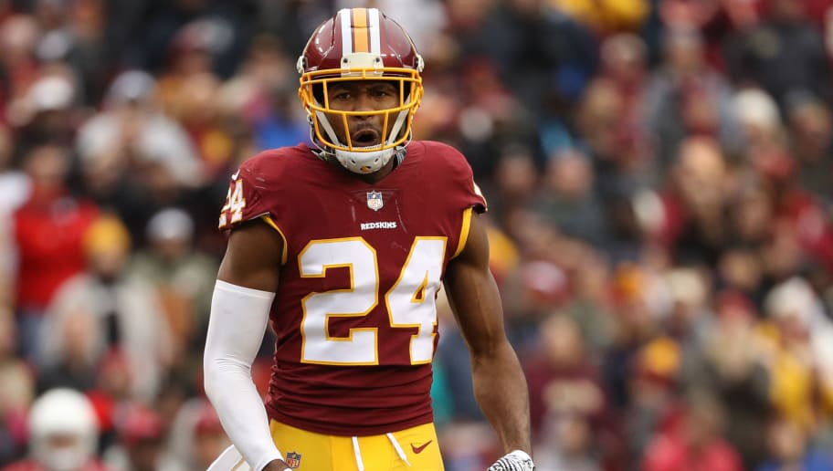 LANDOVER, MD - DECEMBER 17: Cornerback Josh Norman #24 of the Washington Redskins reacts after a play in the fourth quarter against the Arizona Cardinals at FedEx Field on December 17, 2017 in Landover, Maryland. (Photo by Patrick Smith/Getty Images)