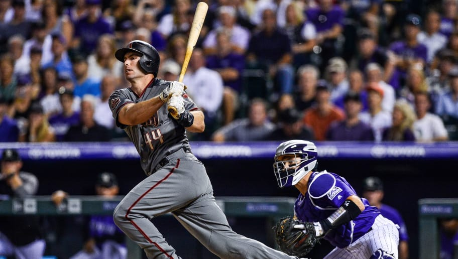DENVER, CO - SEPTEMBER 10: Paul Goldschmidt #44 of the Arizona Diamondbacks hits into an RBI groundout in the sixth inning of a game against the Colorado Rockies  at Coors Field on September 10, 2018 in Denver, Colorado.  (Photo by Dustin Bradford/Getty Images)