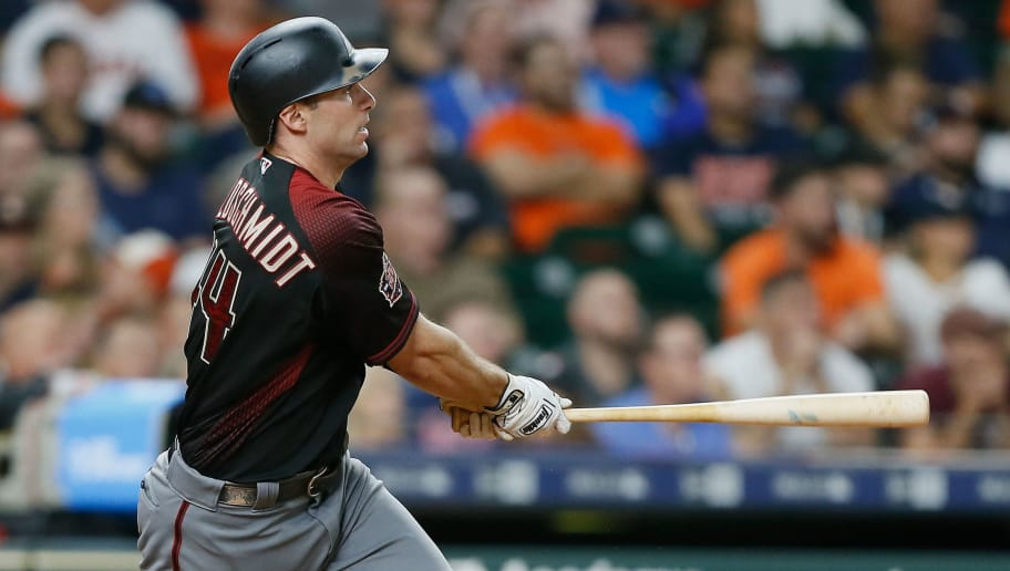 HOUSTON, TX - SEPTEMBER 14:  Paul Goldschmidt #44 of the Arizona Diamondbacks doubles in the seventh inning against the Houston Astros at Minute Maid Park on September 14, 2018 in Houston, Texas.  (Photo by Bob Levey/Getty Images)