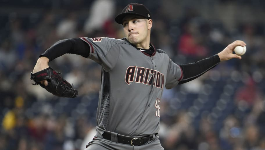 SAN DIEGO, CA - SEPTEMBER 28: Patrick Corbin #46 of the Arizona Diamondbacks pitches during the first inning of a baseball game against the San Diego Padres at PETCO Park on September 28, 2018 in San Diego, California. (Photo by Denis Poroy/Getty Images)