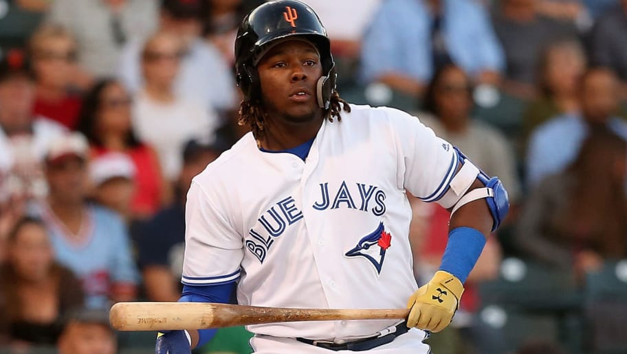 SURPRISE, AZ - NOVEMBER 03:  AFL West All-Star, Vladimir Guerrero Jr #27 of the Toronto Blue Jays reacts as he bats during the Arizona Fall League All Star Game at Surprise Stadium on November 3, 2018 in Surprise, Arizona.  (Photo by Christian Petersen/Getty Images)