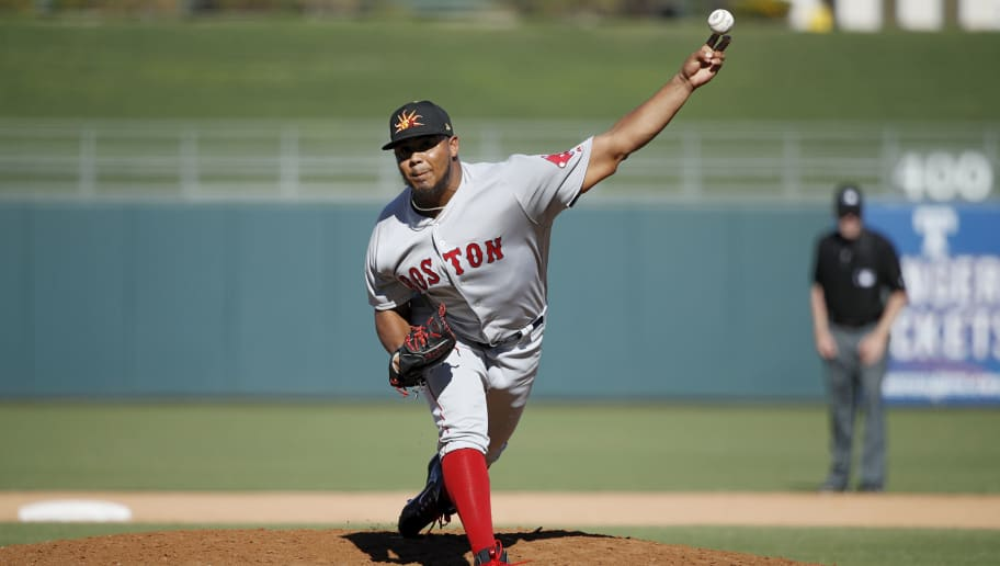 SURPRISE, AZ - OCTOBER 18: Darwinzon Hernandez #30 of the Mesa Solar Sox and Boston Red Sox pitches during the 2018 Arizona Fall League on October 18, 2018 at Surprise Stadium in Surprise, Arizona. (Photo by Joe Robbins/Getty Images)
