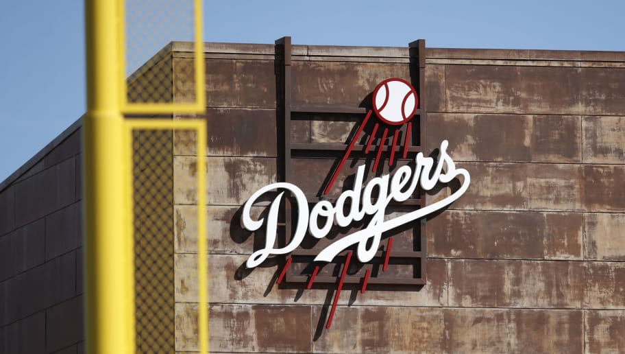 PHOENIX, AZ - OCTOBER 16: General view of the Los Angeles Dodgers logo at Camelback Ranch during the 2018 Arizona Fall League on October 16, 2018 at in Phoenix, Arizona. (Photo by Joe Robbins/Getty Images)