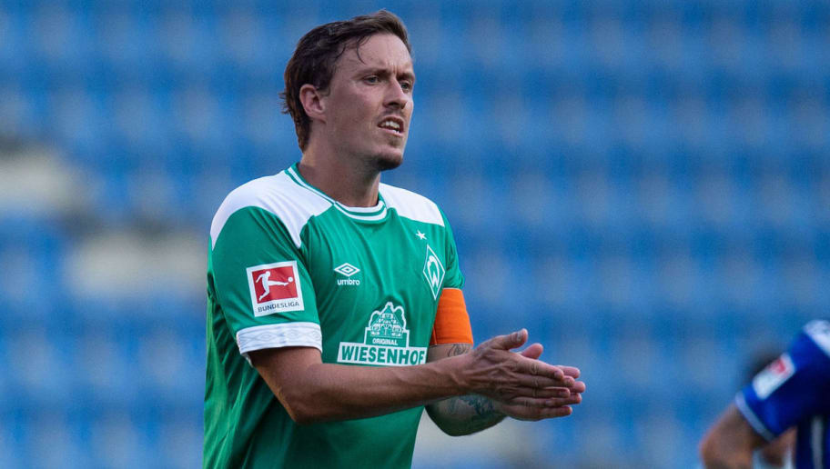 BIELEFELD, GERMANY - JULY 27: Max Kruse of Werder Bremen gestures during the Friendly match between Arminia Bielefeld and SV Werder Bremen at SchücoArena on July 27, 2018 in Bielefeld, Germany. (Photo by TF-Images/Getty Images)
